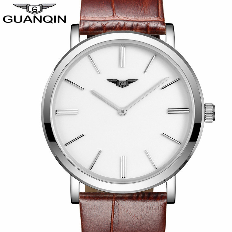 GUANQIN relogio masculino Simple Men Watches  Men's  Ultra Thin Quartz Watch Male Sport Leather Wristwatch montre homme