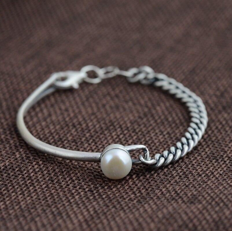 100% настоящие браслеты из стерлингового серебра 925 пробы винтажные Имитационные жемчужные браслеты для женщин 16 см аксессуары модный подаро