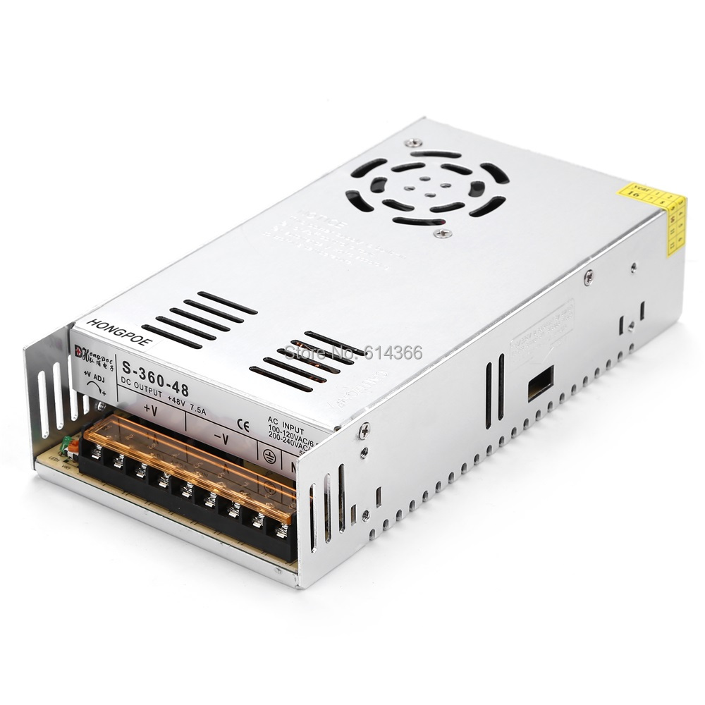 36PCS Best quality 48V 7.5A 360W Switching Power Supply Driver for LED Strip AC 100-240V Input to DC 48V7.5A 36pcs best quality 12v 30a 360w switching power supply driver for led strip ac 100 240v input to dc 12v30a