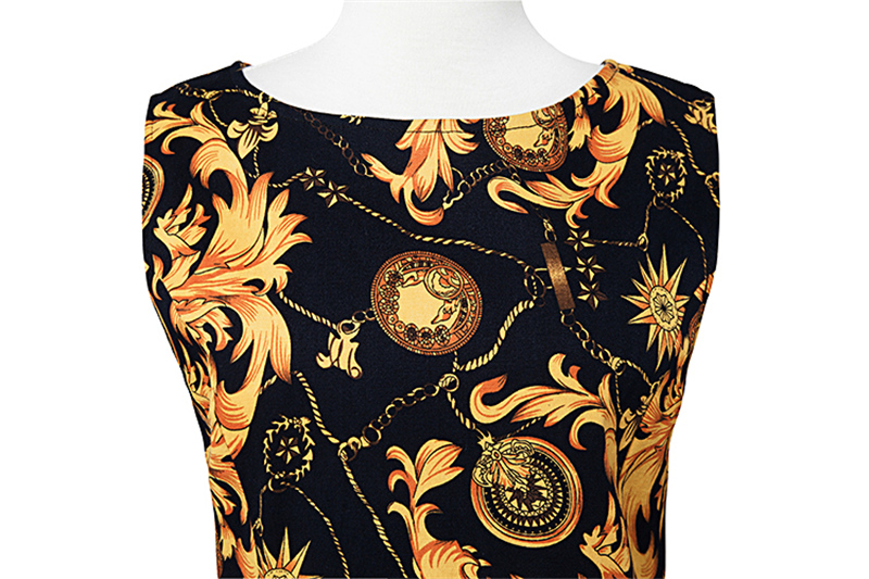 Kostlish Elegant Print Women Summer Dress Sleeveless Cotton Hepburn 50s 60s Vintage Dress With Belt Casual A-Line Ladies Dresses (31)