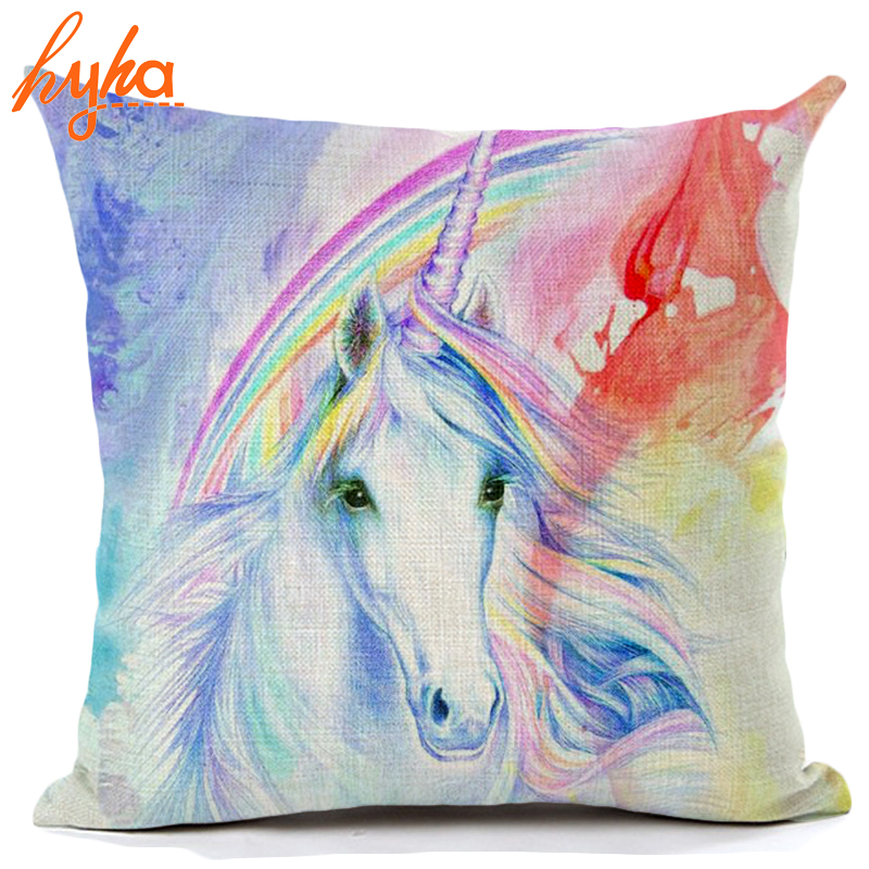 Hyha Unicorn Licorne Cushion Cover Cotton Linen Watercolor Painting Unicorn Home Deocrative Pillow Cover for Sofa Cojines