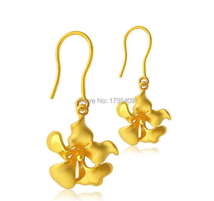 24 К желтого золота Серьги/3D Для женщин Фея цветок Длинные висячие серьги