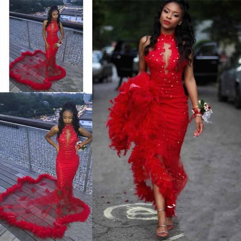 Sexy rouge sirène robes de bal avec plumes 2019 vestidos de gala robe de soirée dentelle pailletée perlée africaine robe de bal
