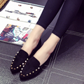 women high quality pu leather black rivet slip on flat shoes Zapatos planos para mujer female gray casual street walk shoes
