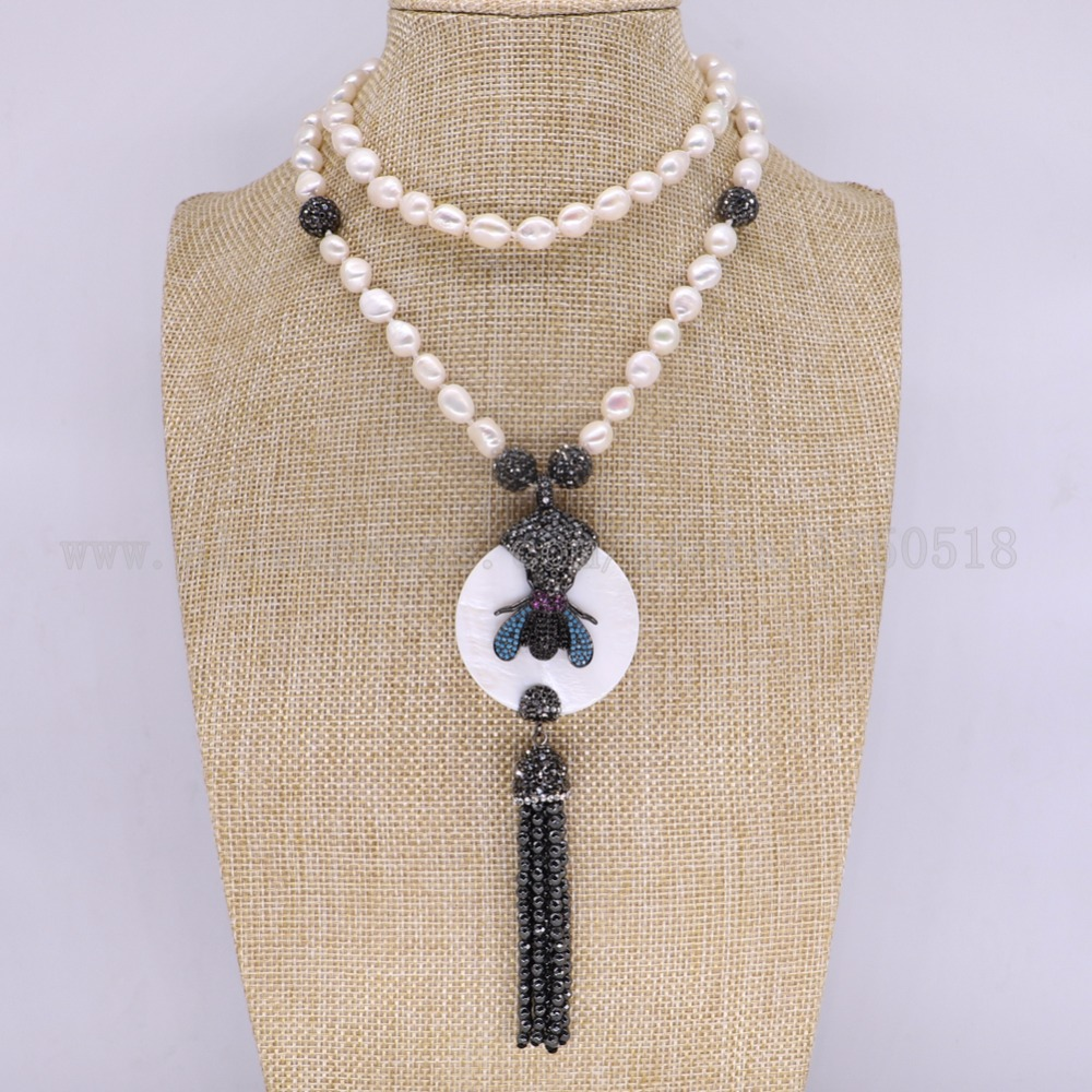 3 предмета в комплекте жемчужное ожерелье с кисточкой Природный Круглый Shell Подвески, Колье с ошибками пчелы кулон Самоцветы для женщин 3125