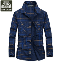 AFS JEEP Brand Shirt Men Shirts Casual Military Shirt Plaid Shirt Men Pure Cotton Plus Size M 5XL Camisa Masculina Chemise Homme