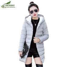 Winter new Down cotton jacket coat female Medium length Slim hooded warm Outerwear thickening large size women coat OKXGNZ AF190