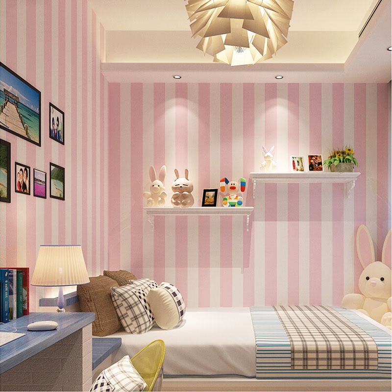 Korean Style Pink Children S Room Bedroom Wallpaper For Kids Room Modern Vertical Striped Non Woven