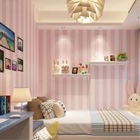 Korean Style Pink Children S Room Princess Bedroom Wallpaper Modern Vertical Striped Wallpaper Non Woven Living