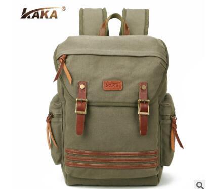ФОТО Brand KAKA Men Canvas Backpack Waterproof Men's Rucksacks 15.6 Inch Laptop Mochila High Quality Designer Backpacks Male Knapsack