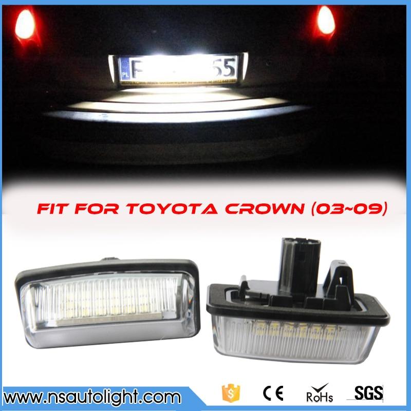 2PCS White 18 LED 3528 SMD License Plate Lights Lamps Kits for Toyota Crown Cars License Light Replacement Kits  2pcs white led license plate light lamps for nissan 350z 370z gtr infiniti g37 g35