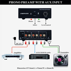 Image 5 - MM RIAA Turntable Phono Preamp with AUX Input Audio Signal Pre Amplifier Volumer