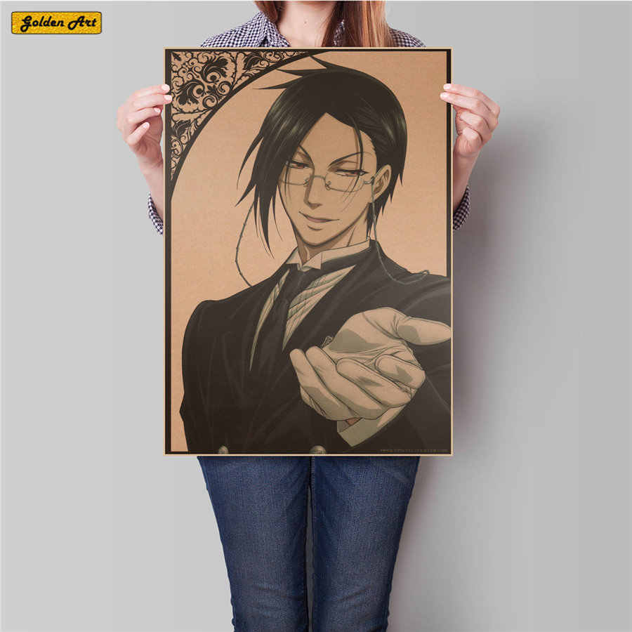 Black Butler Comic Japanese Movie Poster Vintage Painting Retro Drawing bar pub cafe Antique Wall Sticker 45.5x31.5cm