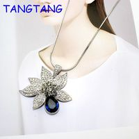 TANGTANG ORIGINAL DESIGN Fashion Elegant Women Crystal Sparkly Blue Glass Flower Pendant Necklace Lady Gift Item