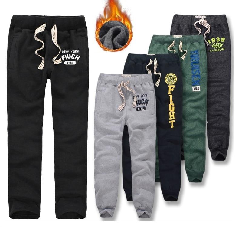 Зимние штаны для мужчин, Плотные хлопковые спортивные штаны, длинные брюки, мягкие и дышащие штаны для бега, размеры от s до 3XL-in Спортивные брюки from Мужская одежда