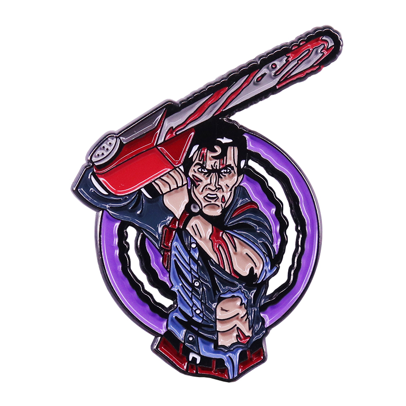 Evil Dead Army of Darkness Hero Ash enamel pin vintage 80s horror movie fans collection image