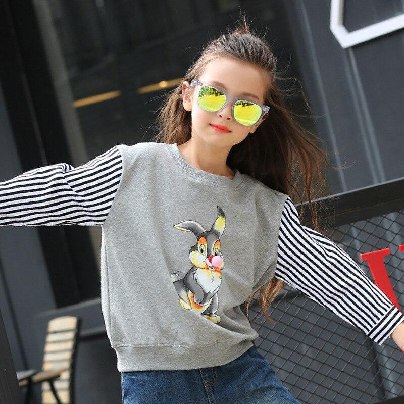 Girls Autumn Spring New Korean Stitching Stripe Long Sleeve T-shirts Kids Clothing Red Grey Cartoon Rabbit Printing Cotton