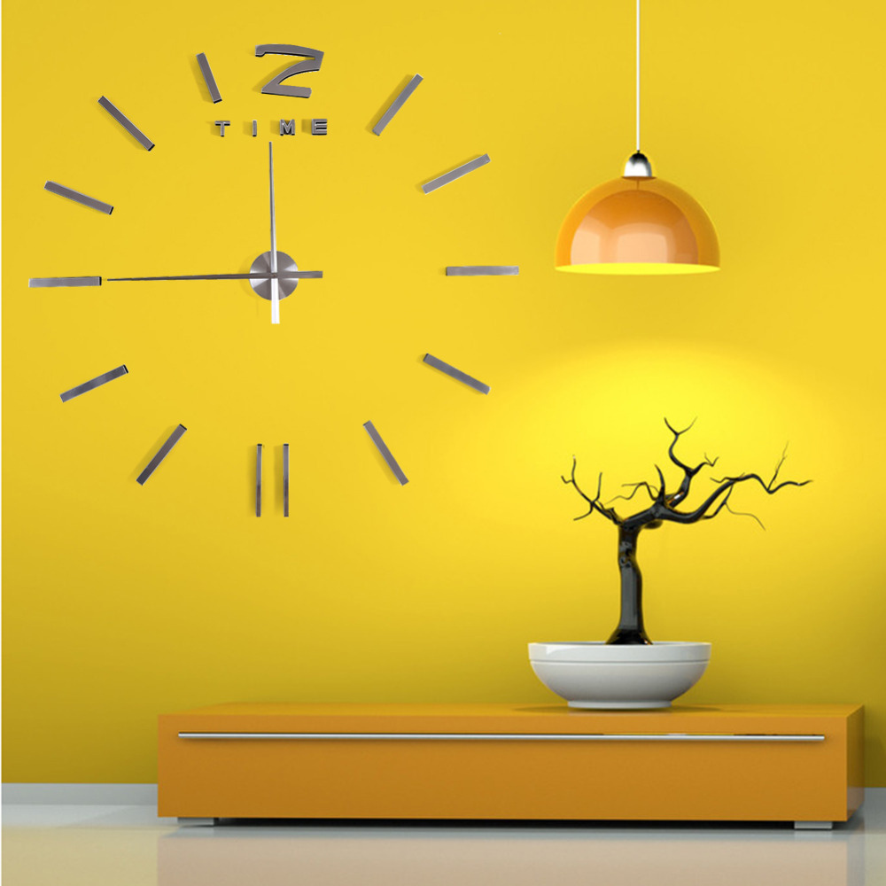 New Fashion Home decoration big mirror wall watch modern design 3D DIY large decorative Tyrant Silver Art clock free shipping Z3-in Wall Clocks from ...