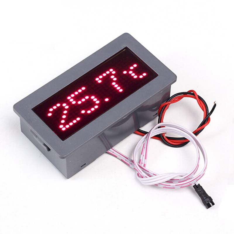 5V 200mA DS18B20 Red LED Display Dot Matrix Digital Electronic Thermometer Temperature Meter Module With Sealed Shell 72mm*40mm