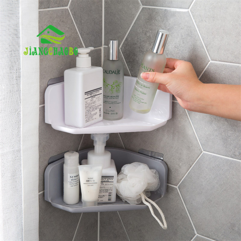 Bathroom:  JiangChaoBo Corner Drain Shelves Bathroom Storage Rack Bathroom Punch-Free Powerful Wall-Mounted Wash Shelf - Martin's & Co
