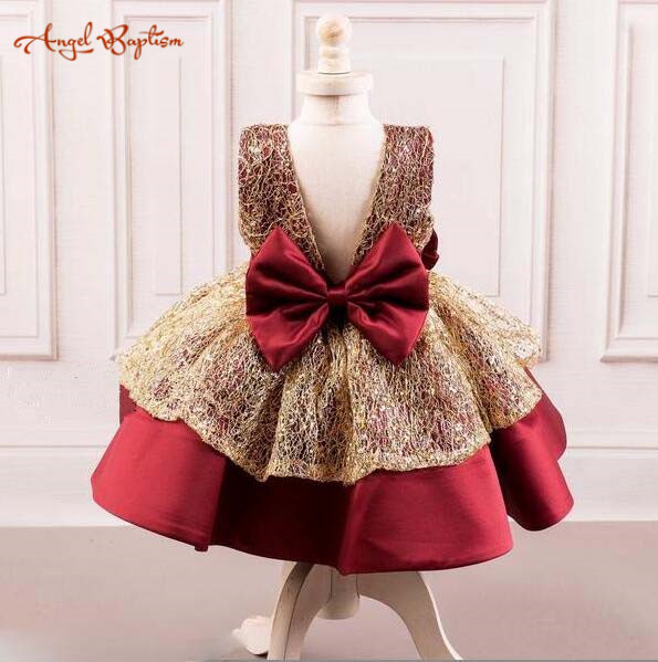 2018 new sparkly burgundy and gold little kids baby birthday party dresses ball gown girl short celebration gown with bow