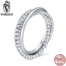 VOROCO Genuine 925 Sterling Silver Jewelry Triple Round Finger Ring Sets Minimalist Stackable Silver Rings Women bague VSR127