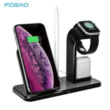 FDGAO Wireless Charger 10W Qi Fast Charging Stand For iPhone XR XS Max X 8 Plus 3 in 1 Dock Holder for Apple Watch 4 3 2 Airpods carprie qi fast 3 ports wireless charger holder stand charging dock for iphone x apple pencil airpods 20a drop shipping