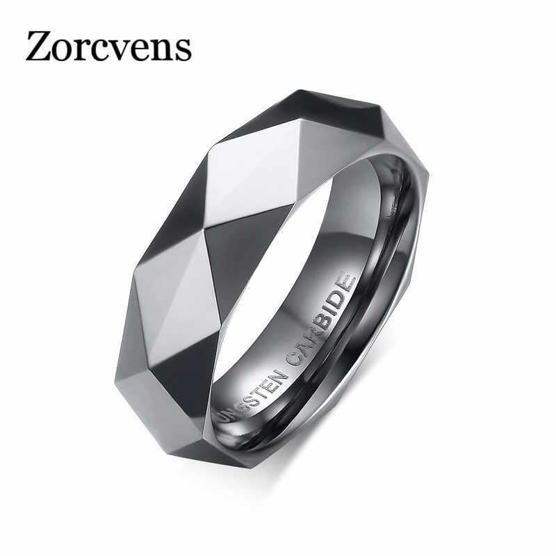 ZORCVENS 3 Màu Áo Hình Thoi Hợp Kim Vonfram LỜI HỨA Cưới Ban Nhạc Nhẫn Vàng-Màu Đính đá Trang Sức Nam