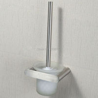 Direct sales Hight Qulity Bathroom luxury Lead Free Brushed Wall Mounted SUS304 Stainless Steel Toilet Brush Holder Set