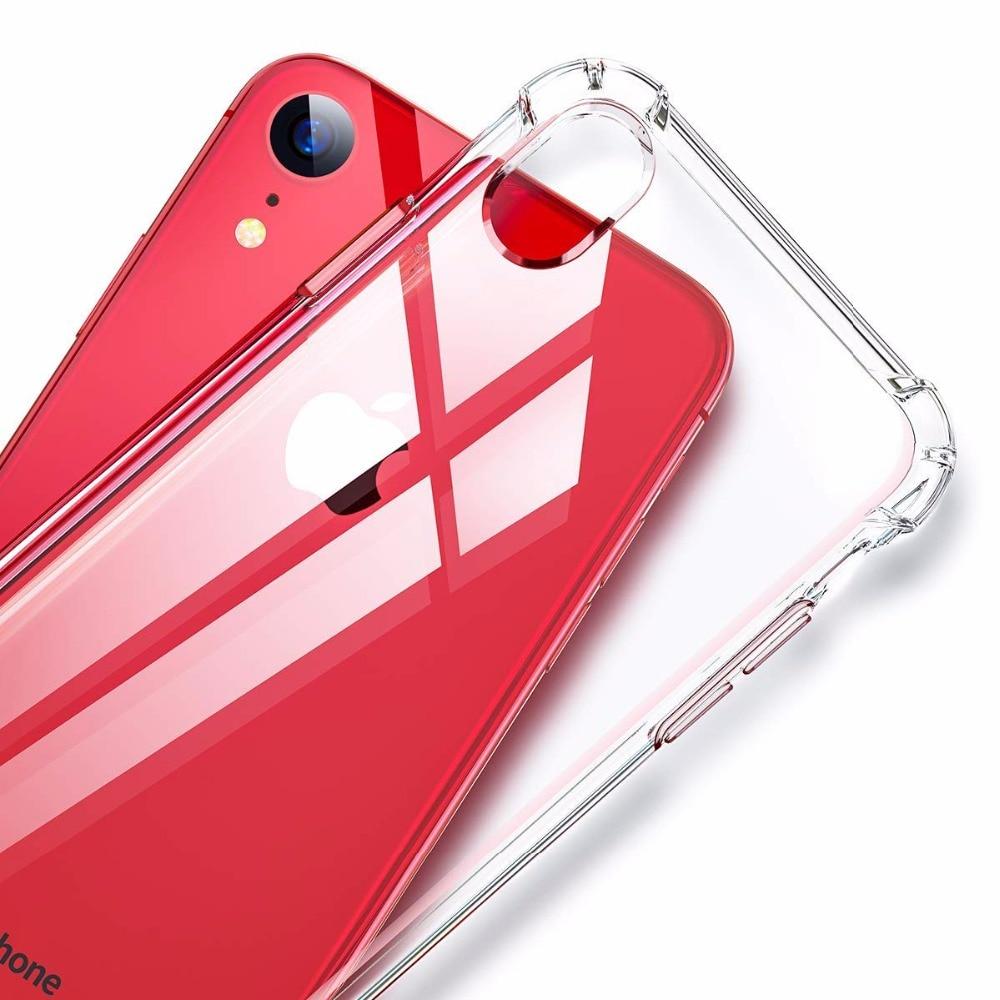 Ultra fino caso claro para o iphone x xr xs max 5 5S se 6 6 s 7 8 mais absorção de choque canto pára-choques capa protetora caso tpu macio