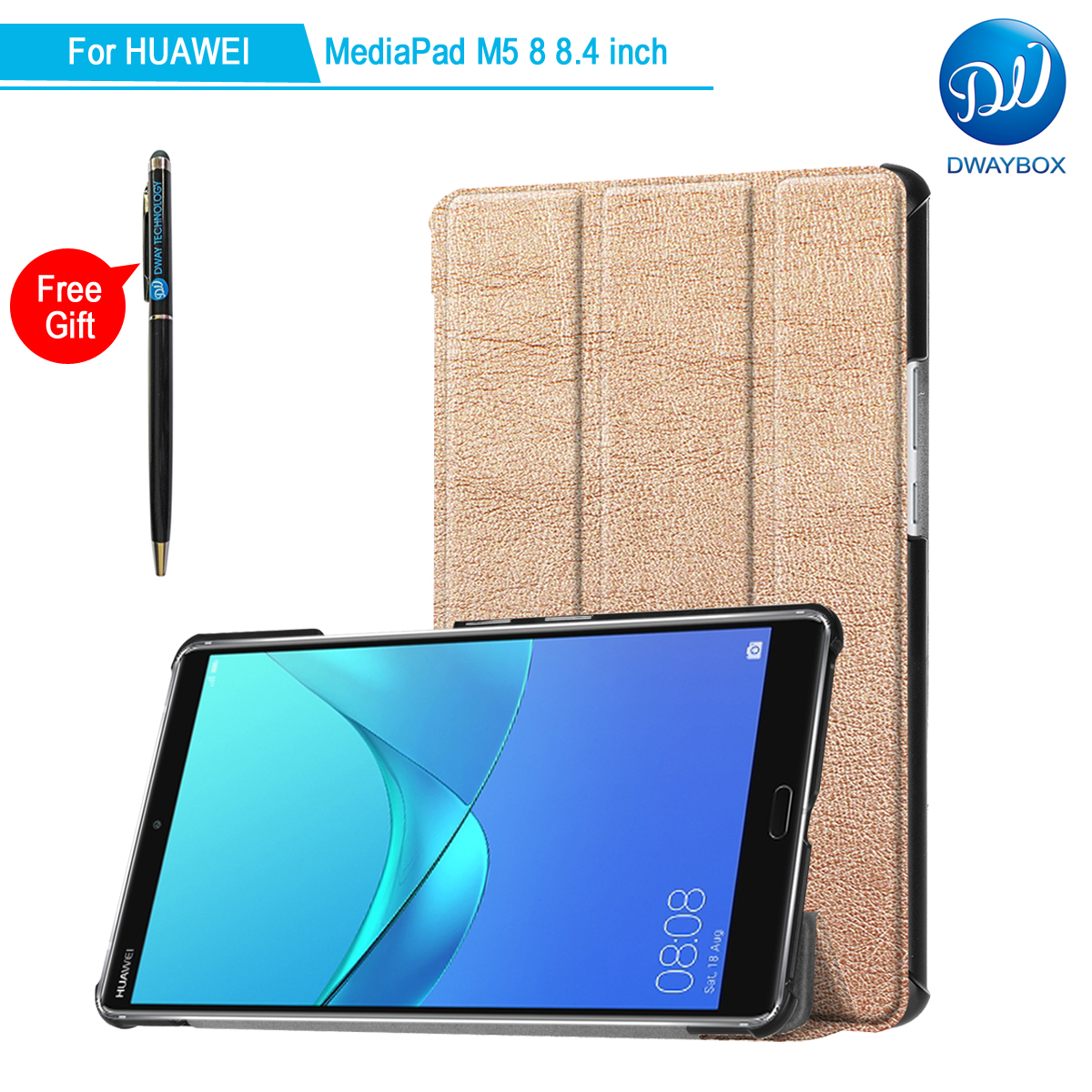 DWAYBOX Ready Stock Folding Flip Case For Huawei MediaPad M5 8 SHT-AL09 SHT-W09 PU Leather Cover With Auto Wake/Sleep Feature mediapad m3 lite 8 0 skin ultra slim cartoon stand pu leather case cover for huawei mediapad m3 lite 8 0 cpn w09 cpn al00 8