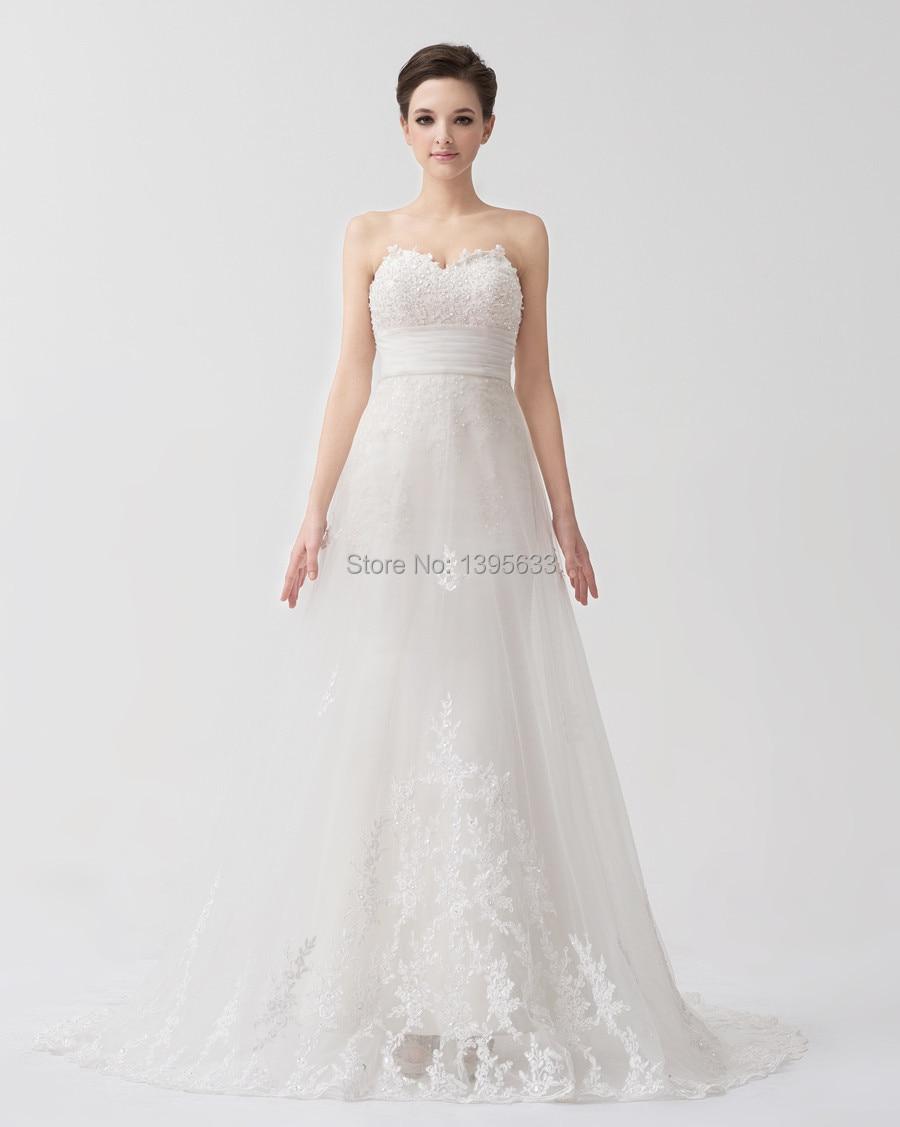 Women Mermaid Style Petite Wedding Dress Appliqued Lace Overlay ...
