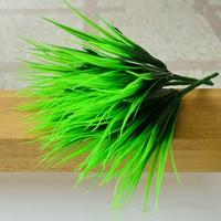 10Pcs Lot Artificial Green Plants 7 Fork Simulation Plastic Fresh Grass Ornaments Home Fish Tank Decorative