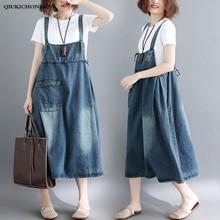 цена на Front Pocket Denim Overall Dress 2018 Summer Straps Sleeveless Midi Long Sundress Women Plus Size Clothing Casual Denim Dresses