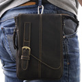 Crazy Horse Genuine Leather Waist Hook Fanny Pack Bag Men Travel Cell/Mobile Phone Case Cowhide Small Messenger Shoulder Bags