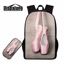 Dispalang Ballet Shoe Print Backpack for Girls Pretty Rucksacks School Bag for Teenagers Bookbag and Pencil cases for Children dispalang cute ballet girls school backpack and lunch pouch set pretty bookbag insulated cooler bag for children pencil case kid
