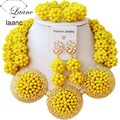 Yellow Nigerian Beads Necklaces African Wedding Jewelry Set laanc AL067
