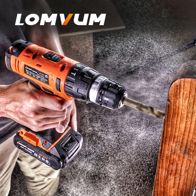 LOMVUM 20V Cordless Portable Impact Electric Drill Adjustable speed puncher Screwdriver MINI electric tool lithium battery  2