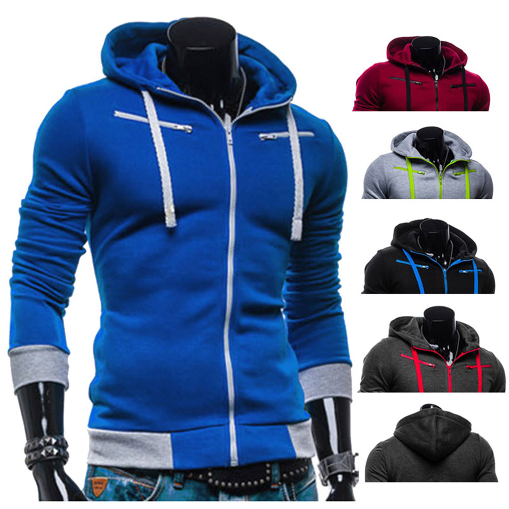 Fashion Men Long Sleeve Hooded Zipper Up  Hoodie Sweatshirt Slim Fit Spring Autumn Jacket Tops H9