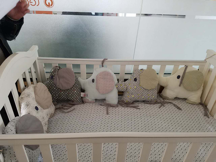 6PCS/Set Cotton Animal Elephant Baby Crib Bumpers Soft Infant Bed Around Protection Bumper Baby Bed Crib Backrest Cushion Pillow 4pcs set cartoon animal baby cloth book knowledge around multi touch multifunction fun and double color colorful bed bumper