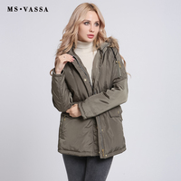 MS VASSA Winter Jacket Women 2017 New Autumn Coats Removable Hood With Fake Fur Army Green