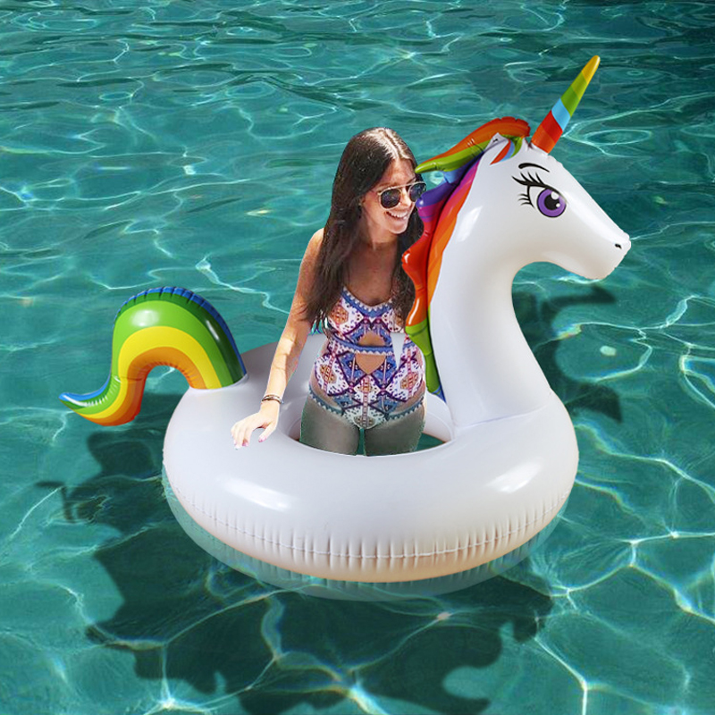 120*150cm Giant Unicorn Swimming Ring Rainbow Pegasus Inflatable Pool Float For Adult Children Floating Row Water Party Toy boia