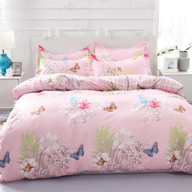 Solstice Home Textile Pink Flower Butterfly Girl Teen Kids Linen Duvet Cover Pillowcase Plaid Bed Sheet Woman Adult Bedding Sets