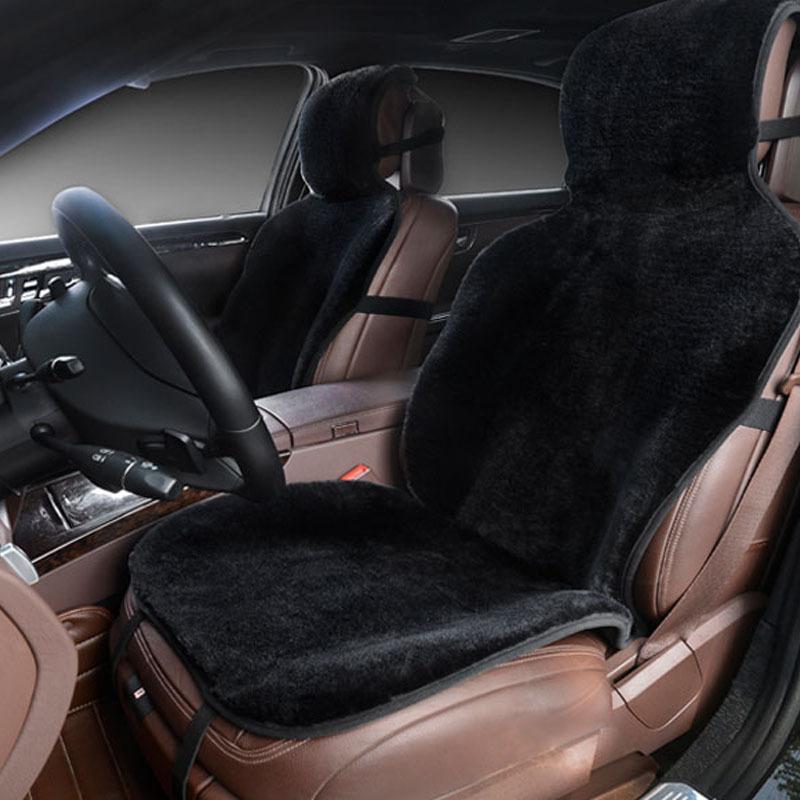 Prix pour Siège de voiture couvre ensemble noir en fausse fourrure mignon de voiture accessoires intérieurs coussin style hiver nouveau peluche de voiture pad siège couvre pour voiture