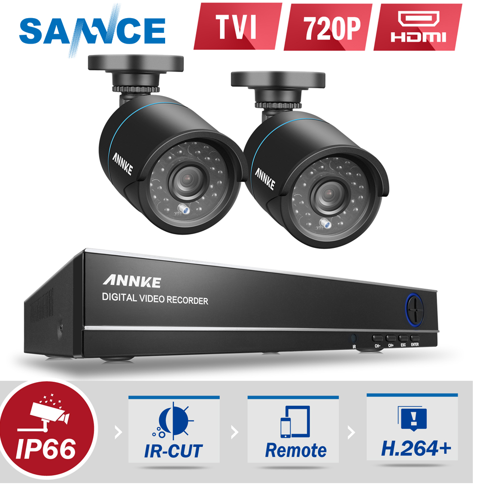 SANNCE DVR Kits 720P AHD Security Camera System 1080N CCTV DVR 2PCS 1200TVL waterproof Outdoor CCTV Camera 1MP Surveillance Kit sannce 4 channel 720p dvr cctv camera system 2pcs 1200tvl 720p ir outdoor security camera system surveillance kit 1tb hdd