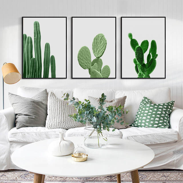 Online Shop Elegant Poetry Green Plants Cactus Simple Decoration A4 Canvas Painting Print Poster Picture Wall Art Bedroom Home Decorative