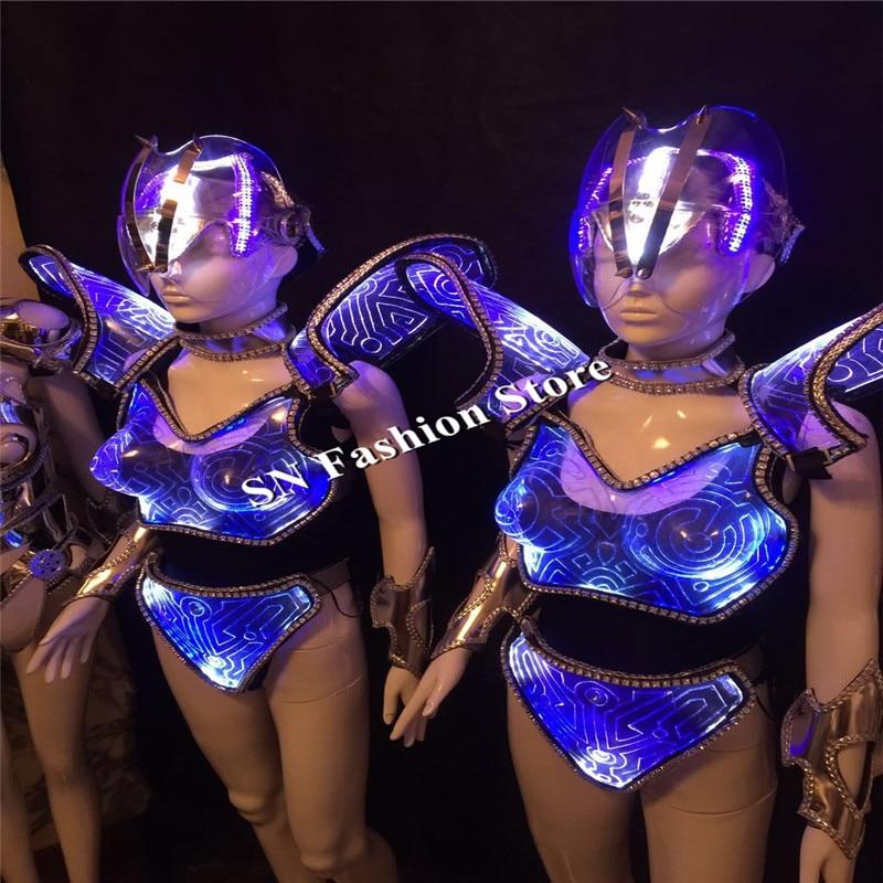 AS92 Barevné LED světelný tanec taneční sál kostýmy fáze sexy šaty hadřík oblečení Bar podprsenka strana zpěvák dj disco nosit modré světlo helmu