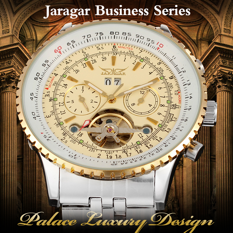 New Jargar Automatic Men Classic Brass Band Silver Color with Gift Box with Original Box Watch jargar automatic men watch black genuine leather strap mechanical wristwatches silver color with gift box