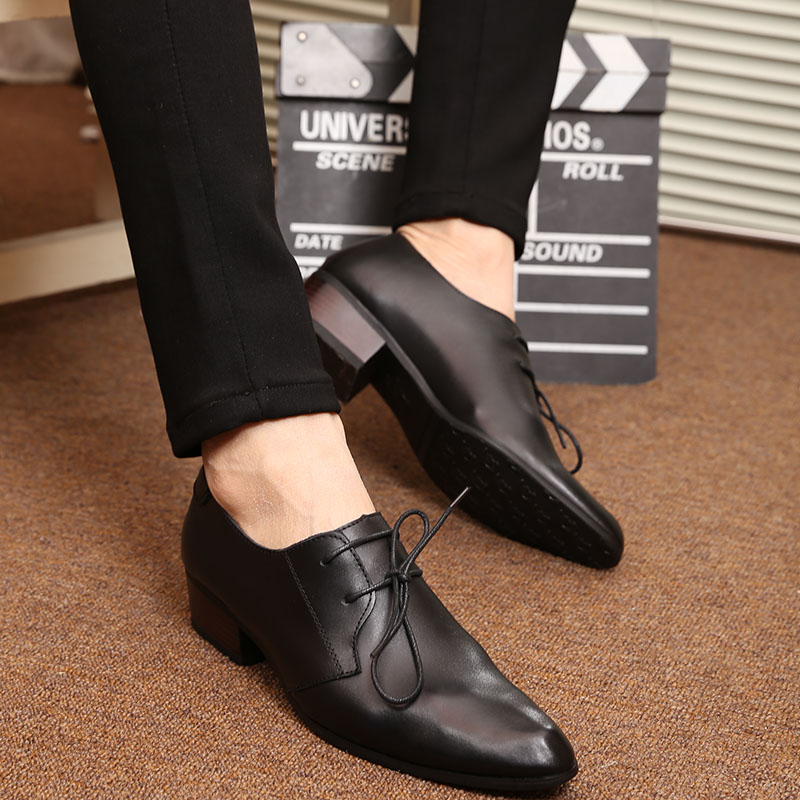 New Leather Shoes Breathable Pointed Toe Men Dress Shoes Business Korea Lace Up Men Formal Shoes Oxfords Shoes For Men Wedding new fashion men dress shoes men s business pu leather shoes pointed toe lace up male casual shoes brown black leather oxfords