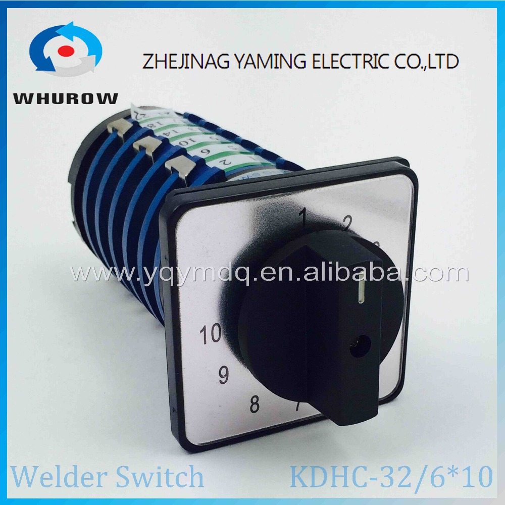 10 position rotary switch KDHC-32/6*10 welding machine switch welder switch 32A 6 phases universal changeover rotary cam switch welder switch khs 11w3d contactor 11 position 3 phase 36pin 5a nbc co2 welding machine rotary switch copper pin silver plate